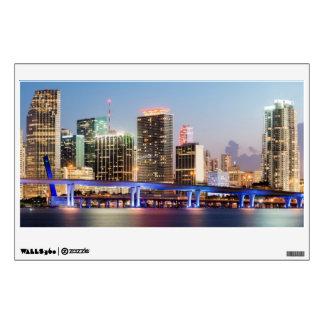 Illuminated skyline of downtown Miami at dusk Wall Skins
