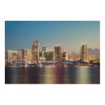 Illuminated skyline of downtown Miami at dusk Wood Prints