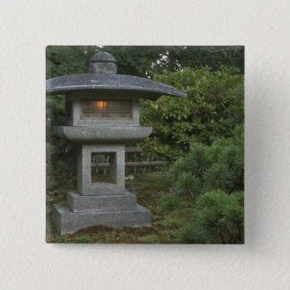 Illuminated stone lantern in Japanese Garden Button