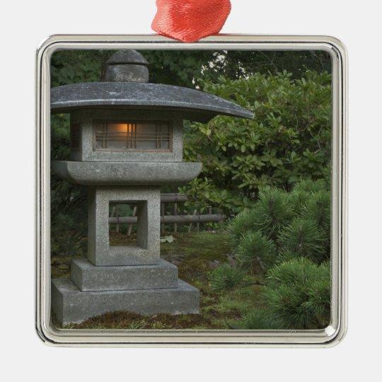 Illuminated stone lantern in Japanese Garden Metal Ornament