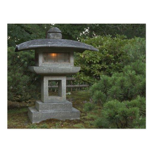 Illuminated stone lantern in Japanese Garden Postcard