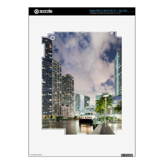 Illuminated towers at the Miami River waterfront iPad 3 Decals