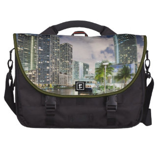Illuminated towers at the Miami River waterfront Laptop Bag