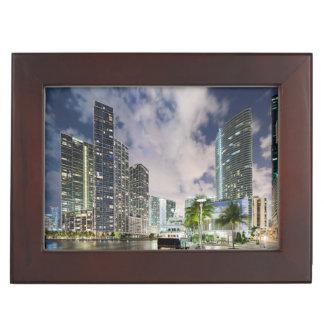Illuminated towers at the Miami River waterfront Memory Box