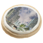 Illuminated towers at the Miami River waterfront Round Premium Shortbread Cookie