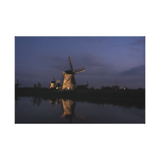 Illuminated windmill at Blue Hour canvas print