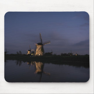 Illuminated windmill at Blue Hour mousepad