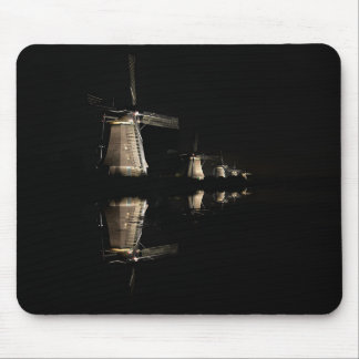 Illuminated windmills at night mousepad