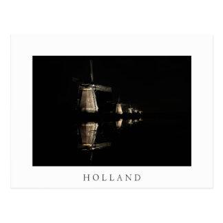 Illuminated windmills in Holland white postcard