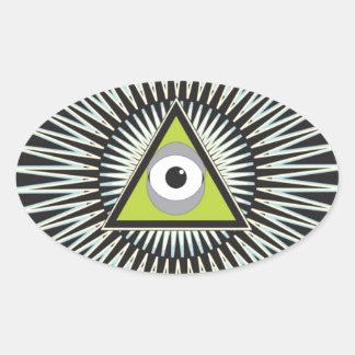 Illuminati All Seeing Eye NWO New World Order Oval Sticker
