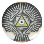 Illuminati All Seeing Eye NWO New World Order Dinner Plate