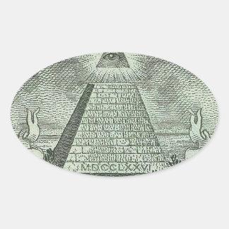 Illuminati - All seeing eye Oval Sticker