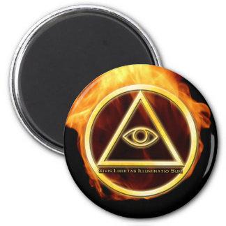 Illuminati en el fuego imán redondo 5 cm