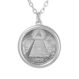 illuminati logo silver plated necklace