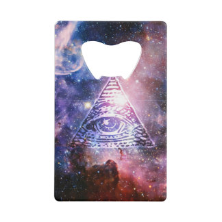 Illuminati nebula credit card bottle opener