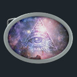 """Illuminati nebula oval belt buckle<br><div class=""""desc"""">Hello and welcome,  this  design was realized by myself.  This design shows an eye of providence in a space scenery,  in the middle of a nebula.  #illuminati #funnygift #nebula #space #eyesofprovidence #uniquegift #universe, </div>"""