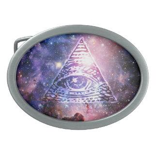 Illuminati nebula oval belt buckle