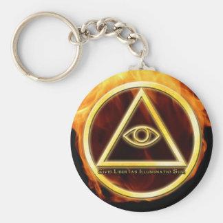 Illuminati on Fire Basic Round Button Keychain