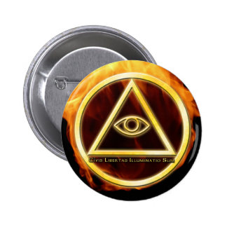 Illuminati on Fire 2 Inch Round Button