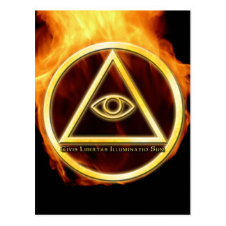 Illuminati on Fire Postcard