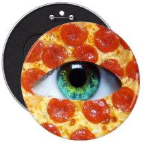 pizza, illuminati, humor, peperonni, crazy, funny, food, eye of providence, cool, internet meme, stupid, dumb, hipster, geometric, triangle, pyramid, fun, memes, button, Button with custom graphic design