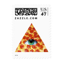 pizza, illuminati, humor, peperonni, crazy, funny, food, eye of providence, cool, stamp, stupid, dumb, internet meme, hipster, geometric, triangle, pyramid, fun, memes, postage, Stamp with custom graphic design