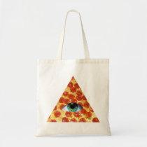 pizza, illuminati, humor, peperonni, crazy, funny, food, eye of providence, cool, hipster, stupid, dumb, internet meme, geometric, triangle, pyramid, fun, memes, budget tote bag, Bag with custom graphic design