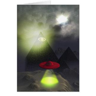 Illuminati Pyramid and UFO Card