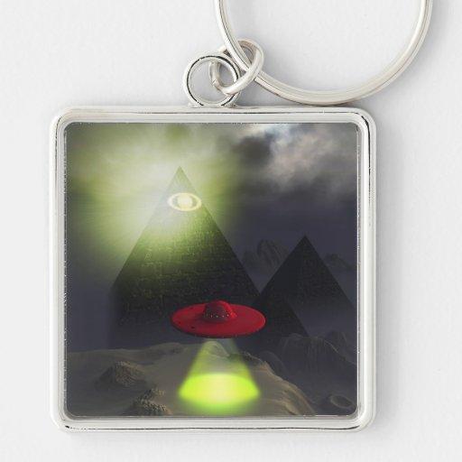 Illuminati Pyramid and UFO Keychain