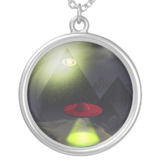 Illuminati Pyramid and UFO Necklace