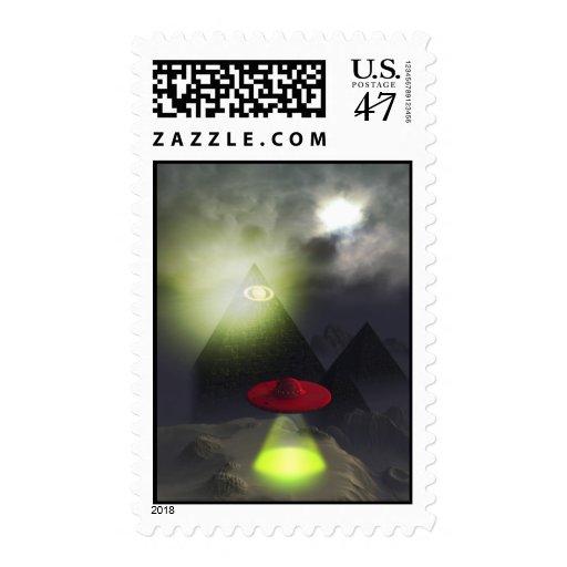 Illuminati Pyramid and UFO Postage