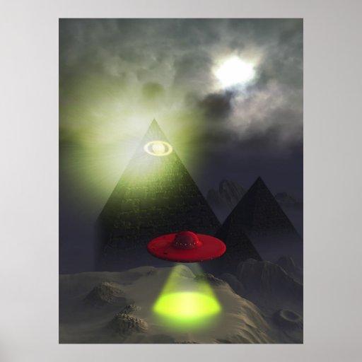Illuminati Pyramid and UFO Print