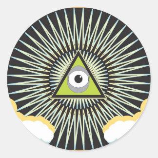 Illuminati todo el nuevo orden mundial del ojo que pegatina redonda