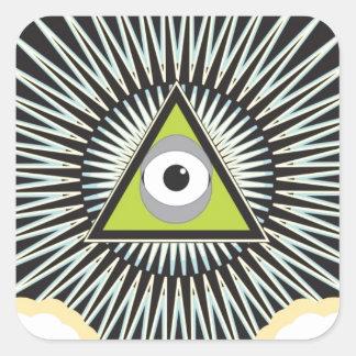 Illuminati todo el nuevo orden mundial del ojo que calcomanías cuadradass personalizadas