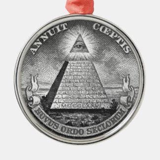 Illuminati todo el ojo que ve adorno navideño redondo de metal