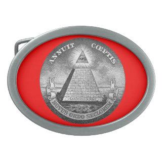 Illuminati todo el ojo que ve hebilla de cinturón oval