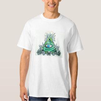 Illuminati verde todo el ojo que ve playera
