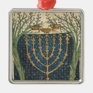 Illumination of a menorah, from christmas tree ornament
