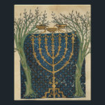 "Illumination of a menorah, from poster<br><div class=""desc"">Illumination of a menorah,  from the Jewish Cervera Bible,  1299 