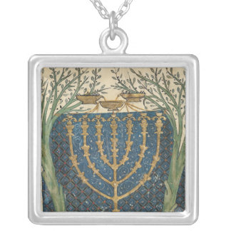 Illumination of a menorah, from square pendant necklace