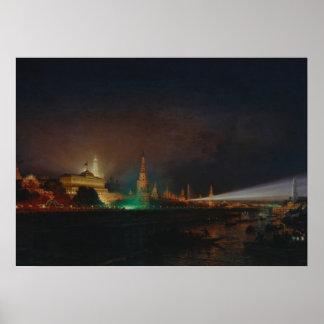 Illumination of the Kremlin, 1883 (oil on canvas) Poster