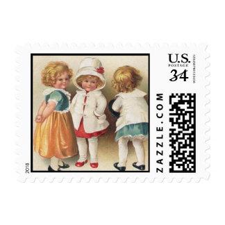 Illus de las niñas del vintage tres - sellos