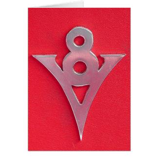 Illusion Chrome V8 Emblem on Red Leather Card