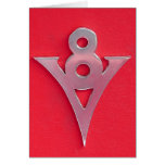 Illusion Chrome V8 Emblem on Red Leather Cards
