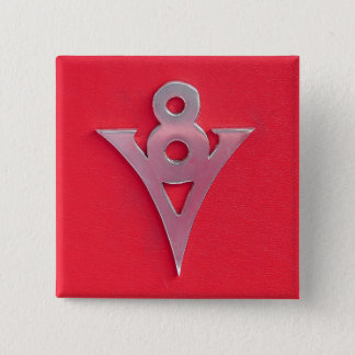 Illusion Chrome V8 Emblem on Red Leather Pinback Button