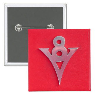 Illusion Chrome V8 Emblem on Red Leather Pinback Button