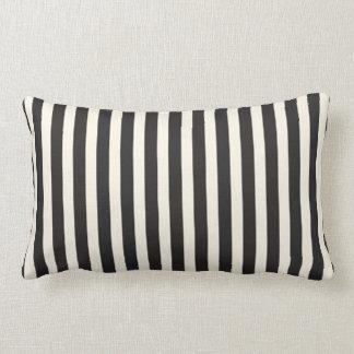 Illusion Stripes Vertical Pattern Black and Cream Lumbar Pillow