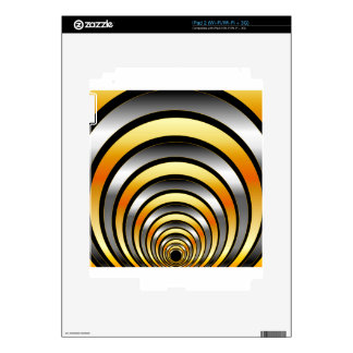 Illusion with metallic rings decals for iPad 2