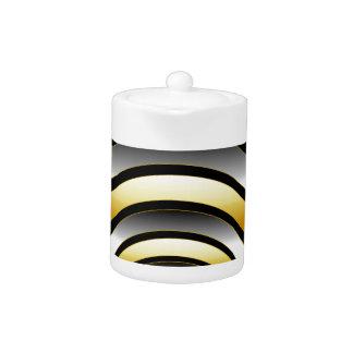 Illusion with metallic rings teapot