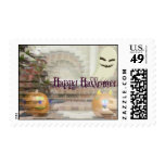 Illusionary Ghost and Pumpkins Postage